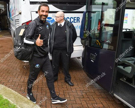 Robert Pires boards the Soccer Aid World XI coach after 'Kitting out' at the Chelsea Harbour Hotel during Soccer Aid for Unicef's training week, in preparation for the match on Sunday