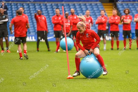 Katie Chapman in a spacehopper race during action from Soccer Aid for Unicef's training week, in preparation for the match on Sunday