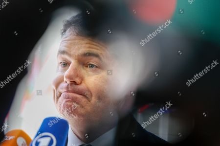 Irish Minister for Finance and Public Expenditure Paschal Donohoe speaks to media as he arrives for the Eurogroup meeting in Luxembourg, 13 June 2019. The Eurogroup will discuss inequality in the eurozone, based on the European Commission analysis and also will have a presention of the outcome of the IMF's Article IV consultation with the euro area.