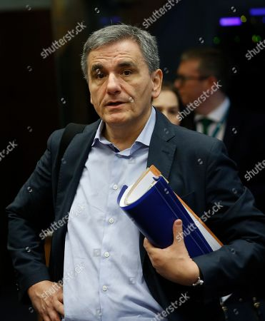 Greek Finance Minister Euclid Tsakalotos at the Eurogroup meeting in Luxembourg, 13 June 2019. The Eurogroup will discuss inequality in the eurozone, based on the European Commission analysis and also will have a presention of the outcome of the IMF's Article IV consultation with the euro area.