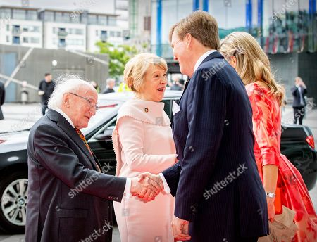 President Michael Higgins, Sabina Coyne, King Willem-Alexander and Queen Maxima of The Netherlands at the Dutch Dance theater in Dublin