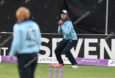Jenny Gunn of England takes a catch to dismiss Natasha McLean of the West Indies