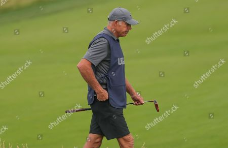 Tiger Woods former Caddie Steve Williams who has come out of retirement for tournament to carry the bag for Jason Day