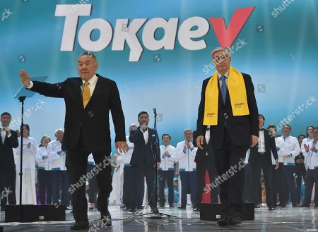 Presidential candidate of Kazakhstan, incumbent President of Kazakhstan Kassym-Jomart Tokayev and head of the Security Council of Kazakhstan, chairman of the ruling Nur Otan party, Nursultan Nazarbayev during a meeting with electorate
