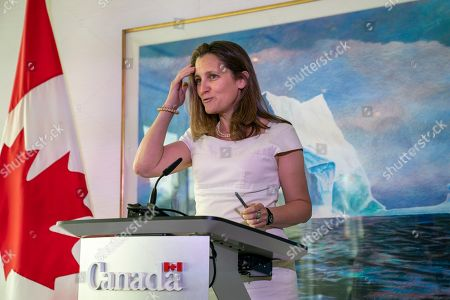 Canada's Foreign Affairs Minister Chrystia Freeland concludes a two-day visit to Washington with a news conference at the Embassy of Canada, . Canadian Prime Minister Trudeau will travel to Washington next week to meet with President Donald Trump to discuss the ratification of the new North American trade agreement and China's detention of two Canadians