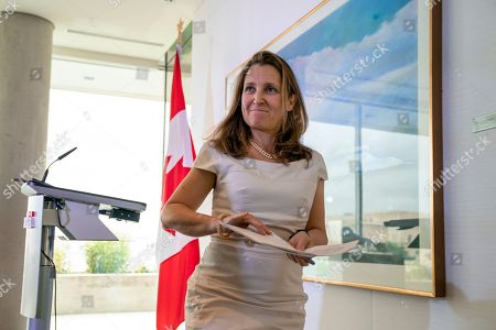Canada's Foreign Affairs Minister Chrystia Freeland finishes a news conference at the Embassy of Canada as she concludes a two-day visit to Washington, . Canadian Prime Minister Trudeau will travel to Washington next week to meet with President Donald Trump to discuss the ratification of the new North American trade agreement and China's detention of two Canadians