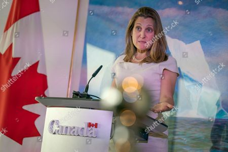 Canada's Foreign Affairs Minister Chrystia Freeland concludes a two-day visit to Washington with a news conference at the Embassy of Canada, . Canadian Prime Minister Justin Trudeau will travel to Washington next week to meet with President Donald Trump to discuss the ratification of the new North American trade agreement and China's detention of two Canadians