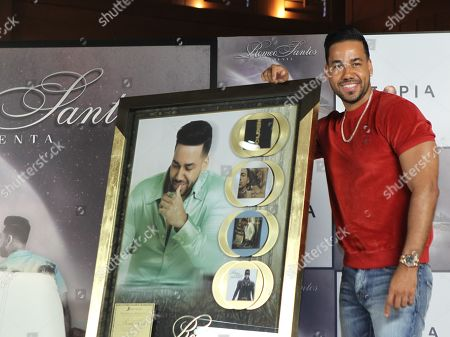 Romeo Santos poses at a press conference in Mexico City, Mexico, 13 June 2019.