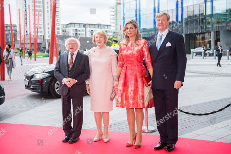 King Willem-Alexander, Queen Maxima, president Michael Higgins and Sabina Coyne at the Dutch Dance theater in Dublin
