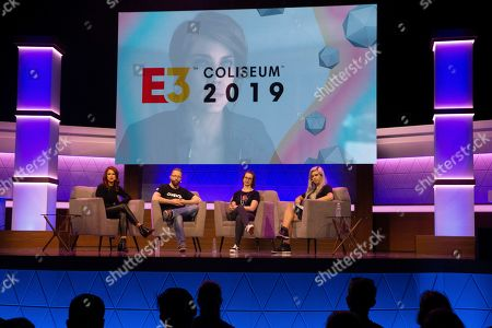 Cast from the video game 'Control' (L-R) Courtney Hope, Mikael Kasurinen, and Brooke Maggs talk during 'Control' Showcase panel during E3 2019 at the Novo Theatre during the Electronic Entertainment Expo (E3) in Los Angeles, California, USA, 13 June 2019. The E3 expo introduces new games and gaming devices and is an anticipated annual event among gaming enthusiasts and marketers. The event runs from 11 to 13 June.