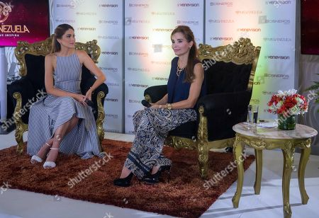 Stock Picture of Miss Venezuela Training Director Maria Gabriela Isler (L) and Miss Venezuela General Manager Nina Sicilia participate in the official presentation of the beauty contest, in Caracas, Venezuela, 13 June 2019. Miss Venezuela presented this years' candidates despite the national economic crisis and announced the search of different types of women.