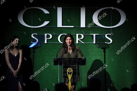 Katie Nolan, Laura Gentile. Laura Gentile, Senior VP, Business Operations & Content Strategy, espnW, right, speaks as host Katie Nolan listens during The Clio Sports Awards at the Capitale Ballroom, in New York