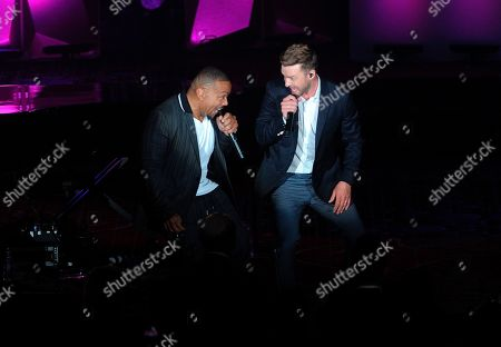 Timbaland; Justin Timberlake. Timbaland, left, and Justin Timberlake perform on stage at the 50th annual Songwriters Hall of Fame induction and awards ceremony at the New York Marriott Marquis Hotel, in New York