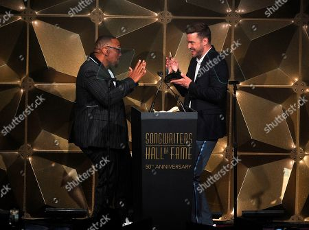 Justin Timberlake; Timbaland. Justin Timberlake and Timbaland attend the 50th annual Songwriters Hall of Fame induction and awards ceremony at the New York Marriott Marquis Hotel, in New York