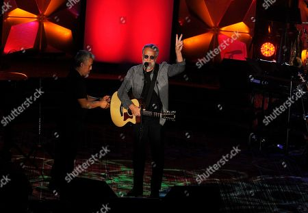 Stock Picture of Yusuf Islam performs on stage at the 50th annual Songwriters Hall of Fame induction and awards ceremony at the New York Marriott Marquis Hotel, in New York