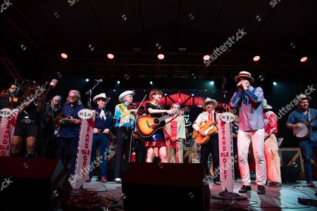 Steve Earle, Ricky Skaggs, Joey Miskulin, Woody Paul, Molly Tuttle, Ashley Monroe, Ranger Doug, Ketch Secor. Steve Earle, from left, Ricky Skaggs, Joey Miskulin, Woody Paul, Molly Tuttle, Ashley Monroe, Ranger Doug, and Ketch Secor perform during the Grand Ole Opry performance at the Bonnaroo Music and Arts Festival, in Manchester, Tenn