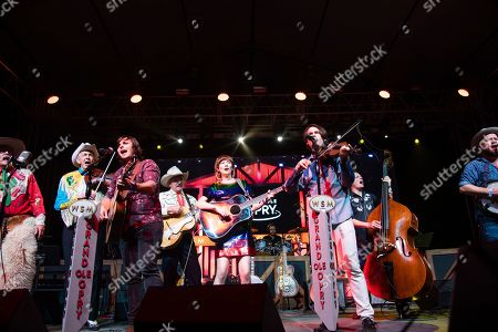 Woody Paul, Charlie Worsham, Ranger Doug, Molly Tuttle, Ketch Secor. Woody Paul, from left, Charlie Worsham, Ranger Doug, Molly Tuttle, and Ketch Secor perform during the Grand Ole Opry performance at the Bonnaroo Music and Arts Festival, in Manchester, Tenn