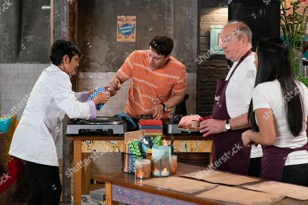 Ep 9805 Wednesday 26th June 2019 - 1st Ep At Speed Daal Geoff Metcalfe, as played by Ian Bartholomew, pours water on Ryan Connor's, as played by Ryan Prescott, mixing desk and lets Yasmeen Nazir, as played by Shelley King, think she did it.