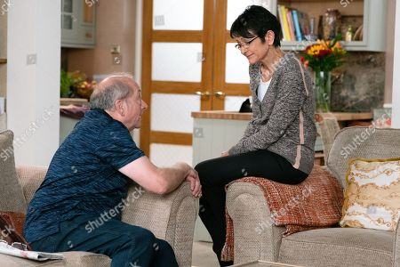 Ep 9812 Wednesday 3rd July 2019 - 2nd Ep Geoff Metcalfe, as played by Ian Bartholomew, proudly tells Yasmeen Nazir, as played by Shelley King, that he's shopped around and managed to save her over £200 on her house insurance, it even covers his DJ gear. Yasmeen's impressed. When Geoff makes out he accidentally gave his own bank details to the old insurer for her jewellery payout, Yameen assures him it's fine. Geoff's pleased to have taken control.
