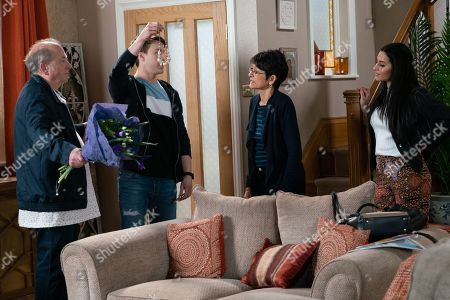 Ep 9810 Monday 1st July 2019 - 2nd Ep Alya Nazir, as played by Sair Khan, and Ryan Connor, as played by Ryan Prescott, are horrified and make Geoff Metcalfe, as played by Ian Bartholomew, turn out his pockets, is Geoff guilty of the robbery?