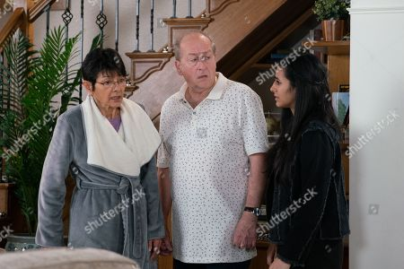 Ep 9809 Monday 1st July 2019 - 1st Ep Yasmeen Nazir, as played by Shelley King, is horrified to discover her jewellery and photos missing and Geoff Metcalfe, as played by Ian Bartholomew, is quick to point the finger of blame at Alya's DJ mates. Horrified Alya offers to pay Yasmeen back and goes off in search of the guys who were at the house.