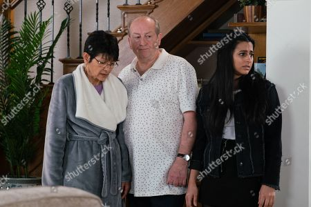 Ep 9809 Monday 1st July 2019 - 1st Ep Yasmeen Nazir, as played by Shelley King, is horrified to discover her jewellery and photos missing and Geoff Metcalfe, as played by Ian Bartholomew, is quick to point the finger of blame at Alya's DJ mates. Horrified Alya offers to pay Yasmeen back and goes off in search of the guys who were at the house. With Alya Nazir, as played by Sair Khan.