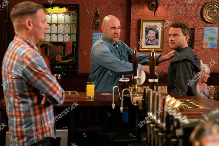 Ep 9814 Friday 5th July 2019 - 2nd Ep Paul Foreman, as played by Peter Ash, is furious when a police officer comes to quiz him about the charity box theft. Discovering that Moira reported him on Sean's say so Billy Mayhew has to stop Paul from going for Sean Tulley, as played by Antony Cotton. With Tim Metcalfe, as played by Joe Duttine.