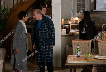 Ep 9808 Friday 28th June 2019 - 2nd Ep Alya Nazir, as played by Sair Khan, brings Ryan Connor, as played by Ryan Prescott, and his two DJ mates back to No.6 after a night out. With Geoff asleep in bed, Yasmeen Nazir, as played by Shelley King, gamely joins the party. Geoff Metcalfe, as played by Ian Bartholomew, is annoyed to find Yasmeen enjoying a drink and a laugh with Alya, Ryan and co.