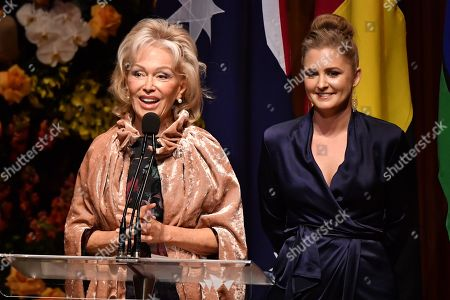 Blanche d'Alpuget, the partner of Bob Hawke, and Bob's granddaughter Sophie Taylor-Price speak during the State Memorial service for former prime minister Bob Hawke from the steps of the Sydney Opera House in Sydney, Australia, 14 June 2019. Thousands gathered to pay their last respect to late former Australian prime minister Bob Hawke, who died on 16 May 2019 at the age of 89, at the Sydney Opera.