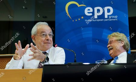Members of European Parliament and seniors of EPP group, French Alain Lamassoure (L) and German Elmar Brok react during a press conference on the Spitzenkandidat (lead candidate) process to select the future president of EU Commission in Brussels, Belgium, 14 June 2019. Even if EPP won the elections and should get their Spitzenkandidat German Manfred Weber (L) as president of the European Commission, there is a strong opposition among other parties to change the rule of this election. Brok and Lamassoure, two leading architects of the procedure, advocate for a more democratic European Union.