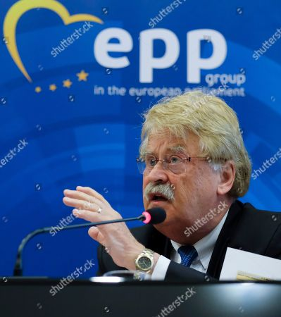 Member of European Parliament and senior of EPP group German Elmar Brok speaks during a press conference on the Spitzenkandidat (lead candidate) process to select the future president of EU Commission in Brussels, Belgium, 14 June 2019. Even if EPP won the elections and should get their Spitzenkandidat German Manfred Weber (L) as president of the European Commission, there is a strong opposition among other parties to change the rule of this election. Brok and Lamassoure, two leading architects of the procedure, advocate for a more democratic European Union.