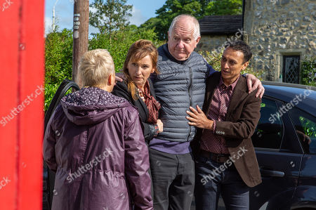 Stock Picture of Ep 8527 Friday 5th July 2019 With Douglas Potts, as played by Duncan Preston, Brenda Walker, as played by Lesley Dunlop, Jai Sharma, as played by Chris Bisson.