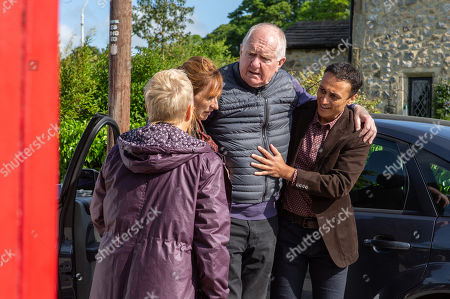 Stock Image of Ep 8527 Friday 5th July 2019 With Douglas Potts, as played by Duncan Preston, Brenda Walker, as played by Lesley Dunlop, Jai Sharma, as played by Chris Bisson.