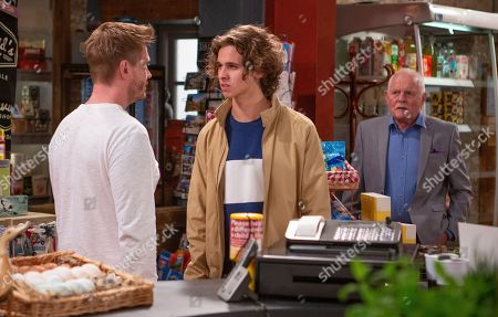 Ep 8525 Thursday 4th July 2019 - 1st Ep Jacob Gallagher, as played by Joe Warren Plant, & Pollard, as played by Chris Chittell, visit the shop, David Metcalfe, as played by Matthew Wolfenden, is desperate to build bridges but despairs when Jacob leaves.