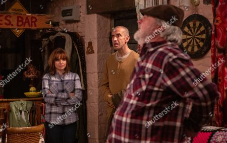 Ep 8523 Tuesday 2nd July 2019 - 2nd Ep Zak Dingle, as played by Steve Halliwell, struggles with what to do with Lisa's ashes. With Sam Dingle, as played by James Hooton, Lydia Hart, as played by Karen Blick.