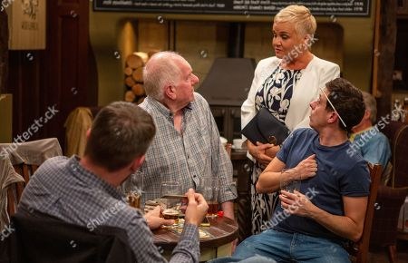 Ep 8523 Tuesday 2nd July 2019 - 2nd Ep Doug Potts, as played by Duncan Preston, tries to make things up with Brenda Hope, as played by Lesley Dunlop, after missing a date being caught up in the football.