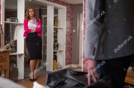 Ep 8520 Friday 28th June 2019 At Brook Cottage, a flustered Bernice Blackstock, as played by Samantha Giles, confronts Liam Cavanagh, as played by Jonny McPherson, about the Balaclava she found in his bag.