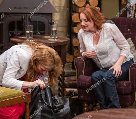 Ep 8519 Thursday 27th June 2019 - 2nd Ep Bernice Blackstock, as played by Samantha Giles, 'accidentally' spills the contents of Liam's bag, she and Nicola King, as played by Nicola Wheeler, are unnerved to find a sinister looking black balaclava.