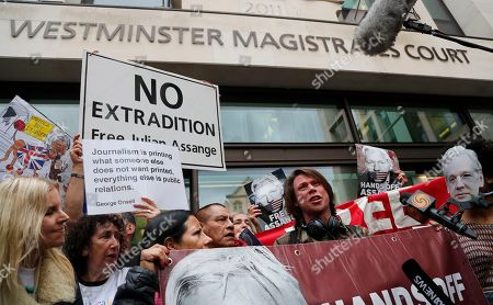 Stock Image of British activist Lauri Love addresses the media at Westminster Magistrates Court in London, . WikiLeaks founder Julian Assange is expected to appear at hearing in a London court via video link as he continues his fight against extradition to the United States