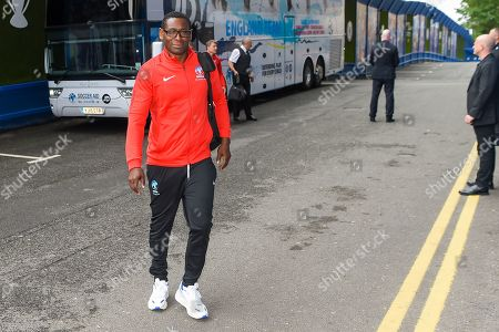 David Harewood arrives before the action from Soccer Aid for Unicef's training week, in preparation for the match on Sunday