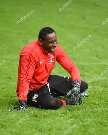 David Harewood in action from Soccer Aid for Unicef's training week, in preparation for the match on Sunday