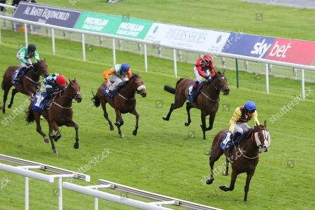 Stock Photo of AUXILLARY (19) ridden by Jonathan Fisher and trained by Liam Bailey winning The Federation Of Bloodstock Agents Apprentice Handicap Stakes over 1m 4f (£15,000)  during the Midsummer Raceday held at York Racecourse, York