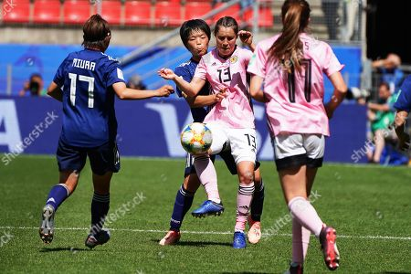 Jane Goldman (2-R) of Scotland in action during the FIFA Women's World Cup 2019 group D soccer match between Japan and Scotland in Rennes, France, 14 June 2019.