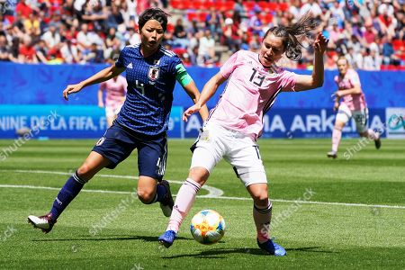Jane Goldman (R) of Scotland in action against Saki Kumagai (L) of Japan during the FIFA Women's World Cup 2019 group D soccer match between Japan and Scotland in Rennes, France, 14 June 2019.