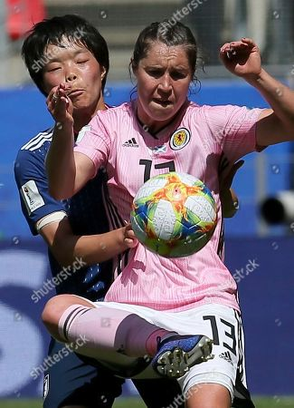 Scotland's Jane Goldman, right, vies for the ball against Japan's Nana Ichise during the Women's World Cup Group D soccer match between Japan and Scotland at the Roazhon Park in Rennes, France