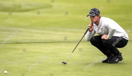 Thomas Pieters of Belgium lines up his putt on the tenth green during the second round of the 119th US Open Championship at the Pebble Beach Golf Links in Pebble Beach, California, USA, 14 June 2019. The tournament will be played from 13 June to 16 June.