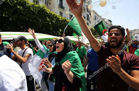 Algerians protesters shout slogans during a demonstration for the departure of the Algerian regime in Algiers, Algeria, 14 June 2019.According to media reports, former Prime Minister Abdelmalek Sellal has jailed in an anti-corruption crackdown - the second former head of government in two days to be sent to prison while his case is investigated with Algeria's Supreme Court.
