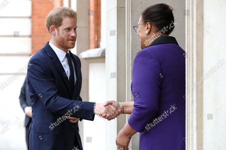Prince Harry meets with Secretary-General of the Commonwealth The Rt. Hon Baroness Patricia Scotland QC during a garden party to celebrate the 70th anniversary of the Commonwealth at Marlborough House