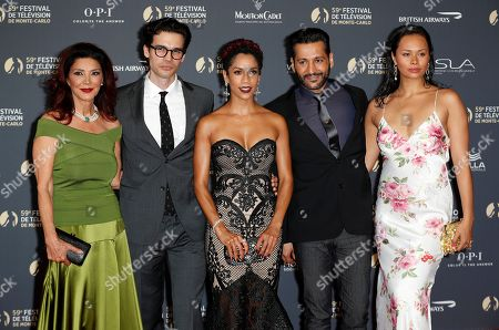 Shohreh Aghdashloo (L), US actor Steven Strait (2-L), US actress Dominique Tipper (C), Canadian actor Cas Anvar (2-R) and New Zealand-Samoan actress Frankie Adams (R) pose on the red carpet while arriving for the opening ceremony of the 59th Monte Carlo Television Festival in Monaco, 14 June 2019. The TV festival runs from 14 to 18 June.