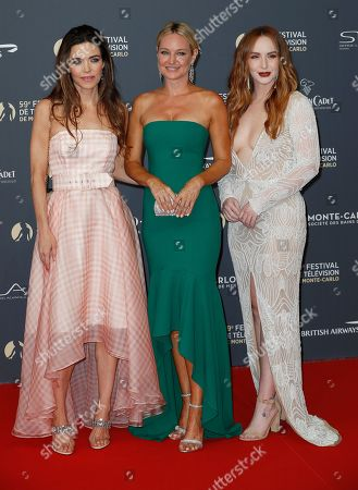 Amelia Heinle (L), Sharon Case (C) and Camryn Grimes (R) pose on the red carpet while arriving for the opening ceremony of the 59th Monte Carlo Television Festival in Monaco, 14 June 2019. The TV festival runs from 14 to 18 June.